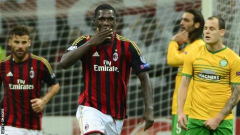 Cristian Zapata celebrates scoring against Celtic