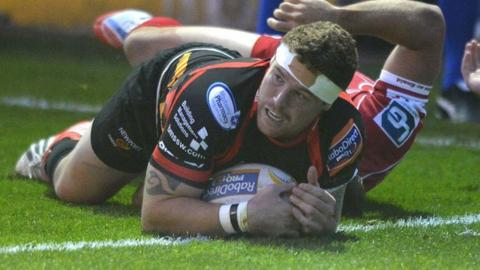 Phil Price scores for the Dragons against Scarlets