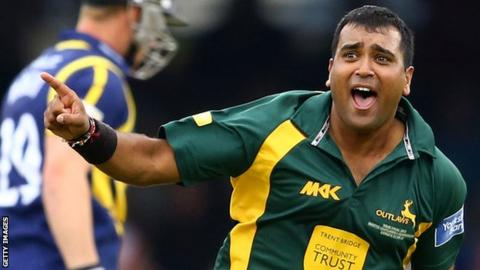 Samit Patel celebrates one of his three wickets against Glamorgan