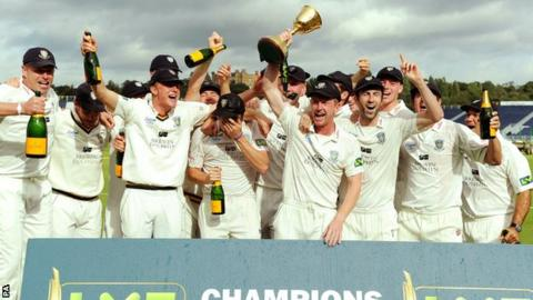 Durham with the County Championship cup in 2013