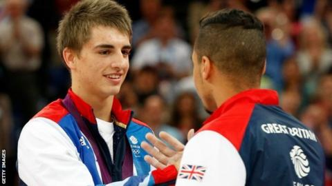 Max Whitlock (left) with Louis Smith on the podium at London 2012