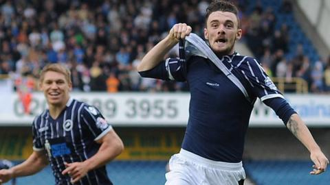 Scott Malone celebrates scoring Millwall's second goal