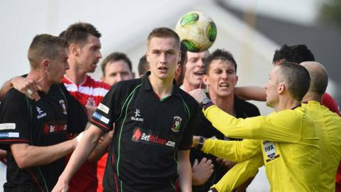 Glentoran's Calum Birney is sent-off in the final stages of Glentoran's defeat by Portadown