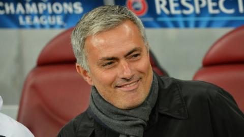 Jose Mourinho sat in dugout