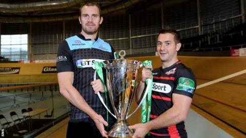 Glasgow Warriors captain Al Kellock, with Edinburgh counterpart Greig Laidlaw (right)