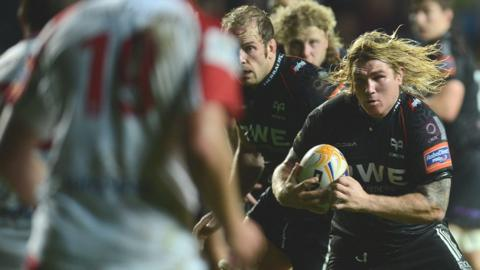 Richard Hibbard on the charge against Ulster during the Ospreys' 18-12 defeat in the Pro12