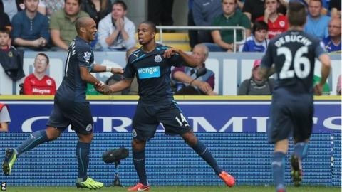 Loic Remy celebrates his first Newcastle goal