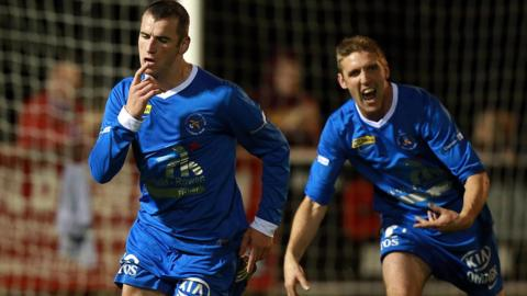 Ryan Campbell runs away after scoring Ballinamallard's goal in their 1-0 Premiership win over Ballymena at Ferney Park