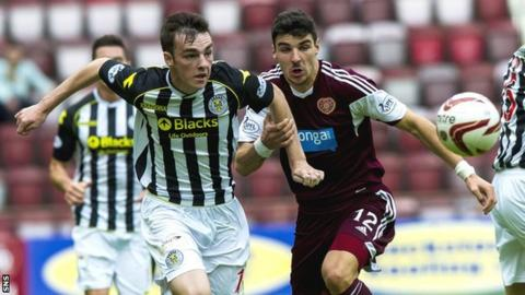 Sean Kelly races against Hearts striker Callum Paterson to reach the ball