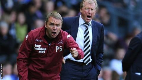Derby coach Paul Simpson (left) and manager Steve McClaren