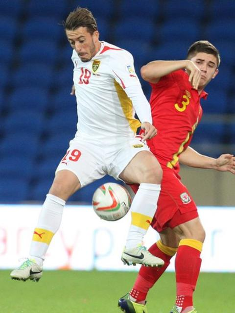 Declan John and Macedonia's Agim Ibraimi battle for the ball