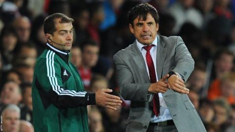 Chris Coleman makes a point to the officials