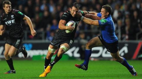 Osprey Joe Bearman takes on Leinster in the Heineken Cup at Liberty Stadium