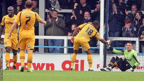 Newport County players at Rochdale