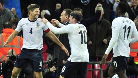England celebrate Steven Gerrard's goal