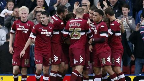 Derby County celebrate scoring