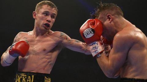 Belfast's Carl Frampton on his way to victory over French opponent Jeremy Parodi