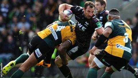 Courtney Lawes tackles Joe Bearman
