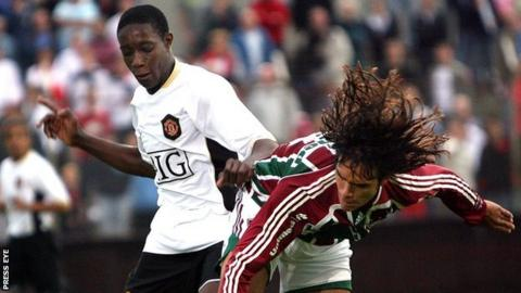 Danny Welbeck in action for Manchester United in the 2008 Milk Cup