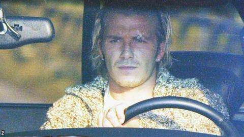 David Beckham arrives at Manchester United training with a plaster covering a cut above his left eye