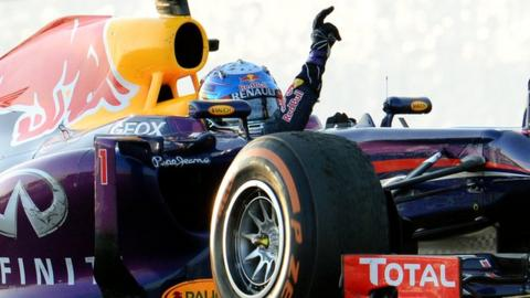 Sebastian Vettel celebrates after winning the Japanese Grand Prix at Suzuka