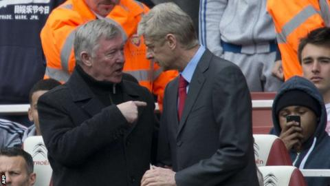 Former Manchester United manager Sir Alex Ferguson (left) with Arsenal's Arsene Wenger