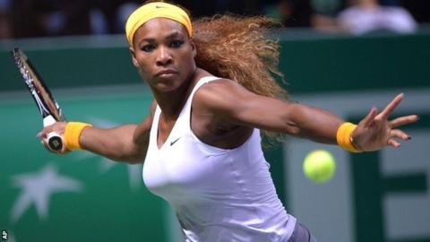 Serena Williams in full flow against Jelena Jankovic in Istanbul