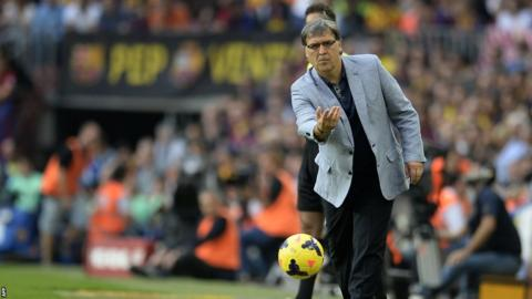 Barcelona head coach Gerardo Martino during the 2-1 El Clasico victory against Real Madrid