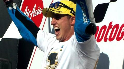 Pol Espargaro celebrates victory in Japan that secures him the Moto2 world championship