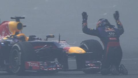 Sebastian Vettel celebrates title win