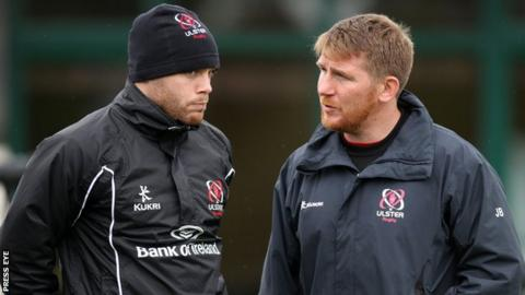 Jonny Bell (right) with Darren Cave who has been called up to the Ireland squad