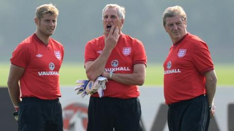 England manager Roy Hodgson (right) with goalkeeping coaches Dave Watson (left) and Ray Clemence