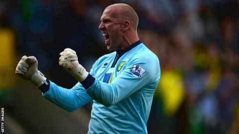 John Ruddy in action for Norwich City
