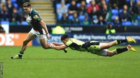 James O'Connor on the attack for London Irish in the Exiles' defeat by Northampton