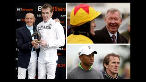 A P McCoy with Frankie Dettori, Sir Alex Ferguson, Tiger Woods,