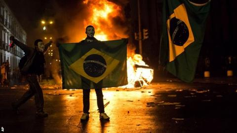 Protestors with Brazil flags