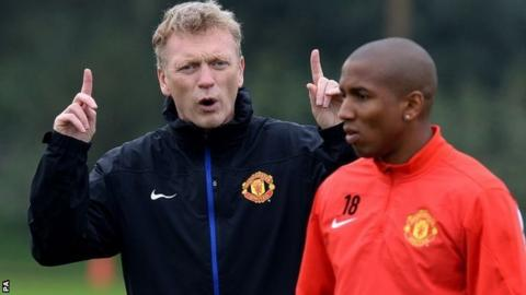 David Moyes with Ashley Young