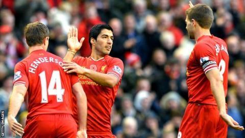 Jordan Henderson, Luis Suarez and Steven Gerrard of Liverpool