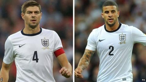 Steven Gerrard and Kyle Walker