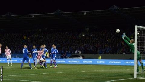 Iceland's goalkeeper Hannes Thor Halldorsson (right) makes a save during the first-leg World Cup 2014 play-off v Croatia