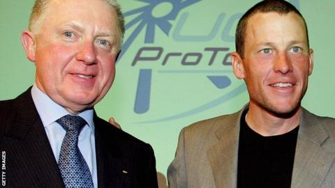 Former UCI chief Hein Verbruggen (left) and Lance Armstrong