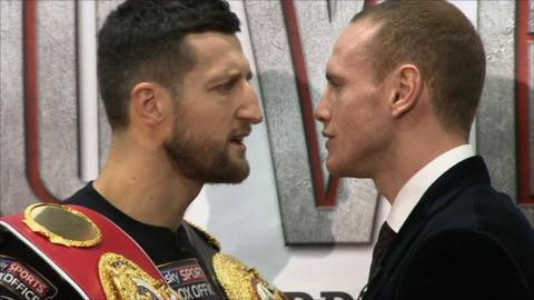 Carl Froch (left) faces George Groves