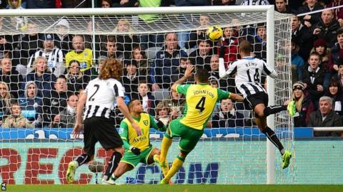 Newcastle striker Loic Remy (right) heads his side in front against Norwich