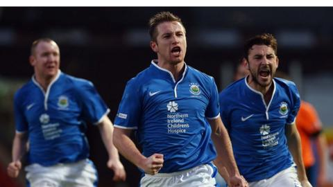 Mark McAllister equalised for Linfield against Glenavon at Mourneview Park