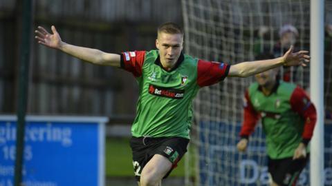 Jordan Stewart scored twice in Glentoran's 4-1 win over Ballinamallard at Ferney Park