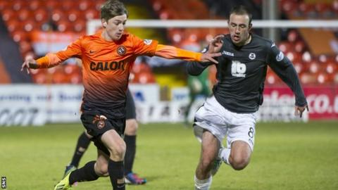 Dundee United's Ryan Gauld and Partick Thistle's Stuart Bannigan