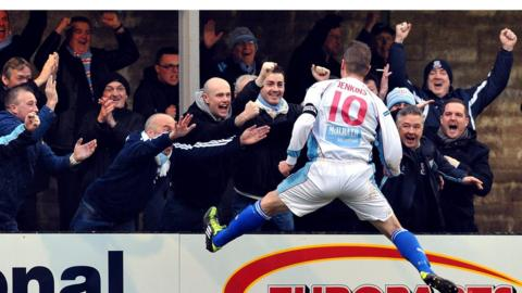Allan Jenkins celebrates after scoring Ballymena's second goal against Warrenpoint Town