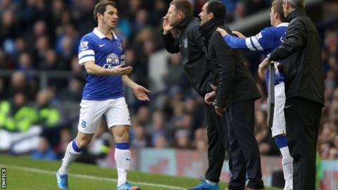 Everton left-back Leighton Baines came off injured after 50 minutes in the 3-3 draw with Liverpool