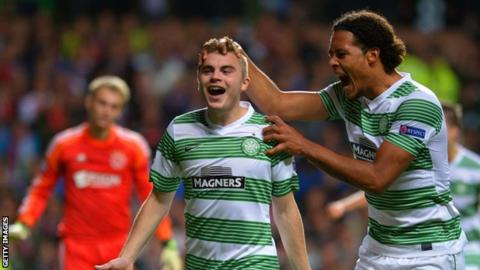 Celtic's James Forrest and Virgil van Dijk in the Champions League