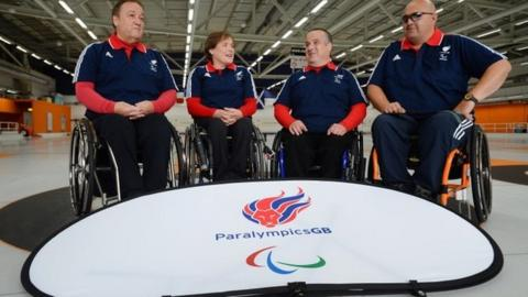 GB wheelchair curling team of Tom Killin, Aileen Neilson, Gregor Ewan and Rob McPherson